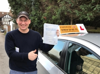Thank you so much for your help! There is no way I would have passed my test on my first try without your patient guidance and instruction! I will definitley recommend you to any other Americans trying to make the change to London driving!!<br />